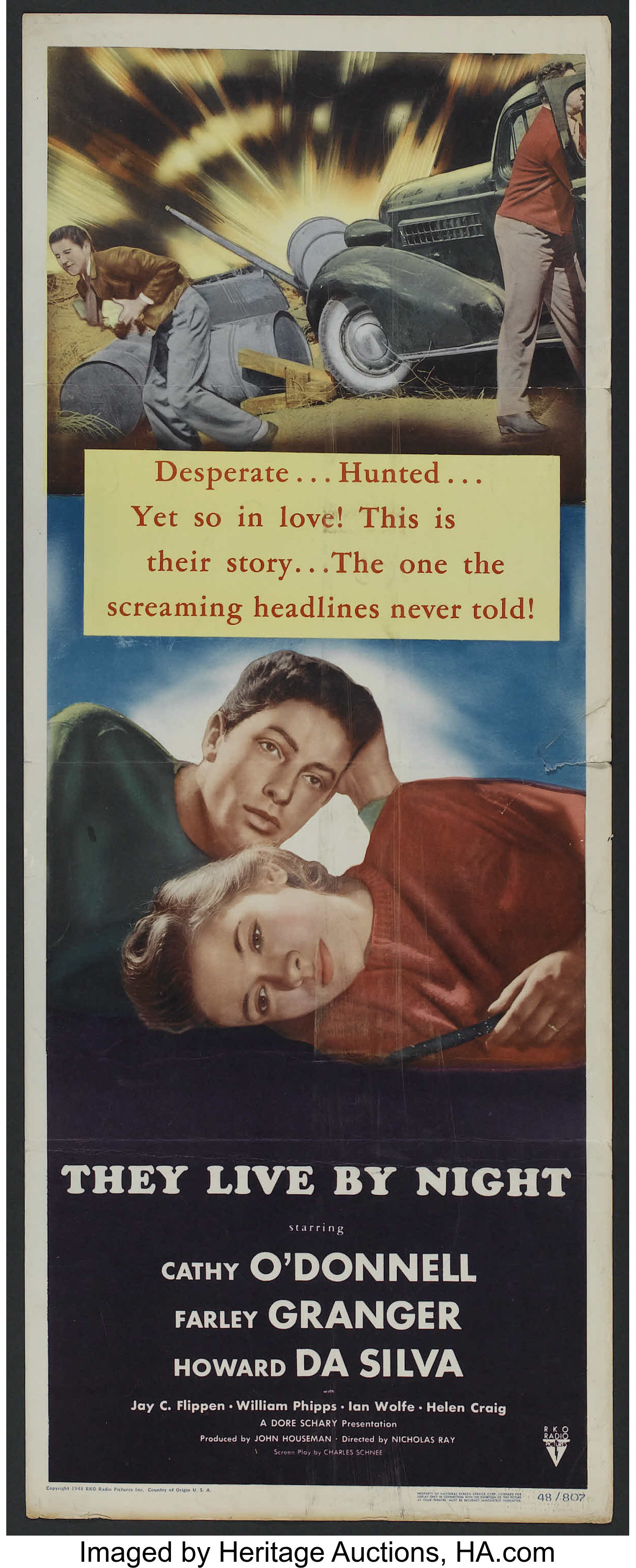 Thy live by night Farley Granger vintage movie poster
