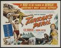 "Movie Posters:Adventure, Tarzan's Peril (RKO, 1951). Half Sheet (22"" X 28"") Style B.Adventure. Starring Lex Barker, Virginia Huston, George Macready..."