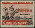 "Movie Posters:Adventure, Tarzan and the She-Devil (RKO, R-1957). Half Sheet (22"" X 28"").Adventure. Starring Lex Barker, Joyce MacKenzie, Raymond Bur..."