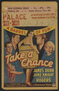 "Movie Posters:Musical, Take a Chance (Paramount, 1933). Window Card (14"" X 22""). Musical. Starring Charles 'Buddy' Rogers, Lilian Bond, James Dunn,..."