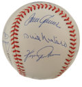 Autographs:Baseballs, No-Hit Club Baseball Signed by 10. Here we collect the signaturesof ten men who have tossed nine innings of no-hit basebal...