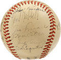 Autographs:Baseballs, 1941 New York Giants Team Signed Baseball. Twenty-five signaturesfrom the 1941 New York Giants make this ONL (Giles) a hig...
