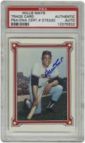 Autographs:Sports Cards, Willie Mays Single Signed Baseball Card, PSA Authentic. An awesome and sweet signature of one of the most beloved Hall of F...