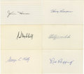 Autographs:Baseballs, Baseball Hall of Famers Signed Index Cards Lot of 6. Nice samplingof Hall of Fame talent available here with this group of...