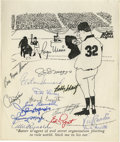 Autographs:Letters, 1950s-60s New York Yankees Signed Cartoon. Here we offer atremendous grouping of signatures courtesy of 16 of the Bronx Bo...