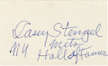 "Autographs:Index Cards, Casey Stengel Signed Index Card. The Ol' Perfessor has penned a marvelous signature with inscription that reads ""NY Mets Ha..."