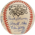 Autographs:Baseballs, Negro League Stars Baseball Signed 26. Just about every usable inchof the ONL (Coleman) baseball we see here has been sign...