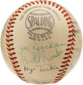 Autographs:Baseballs, Baseball Broadcasters Baseball Signed by 24. Excellent themebaseball collects the signatures of 24 of the men who conveyed...