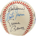 Autographs:Baseballs, Baseball Hall of Famers Baseball Signed by 10. Ten members of theBaseball Hall of Fame in Cooperstown, NY have been gracio...