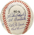 Autographs:Baseballs, Baseball Hall of Famers Baseball Signed by 18. A total of eighteenmembers of the Baseball Hall of Fame have checked in on ...