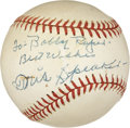 Autographs:Baseballs, Circa 1958 Tris Speaker Single Signed Baseball....