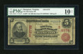 National Bank Notes:Virginia, Hampton, VA - $5 1902 Red Seal Fr. 587 The Merchants NB Ch. #(S)6778. ...