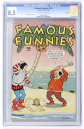 Golden Age (1938-1955):Miscellaneous, Famous Funnies #124 Lost Valley pedigree (Eastern Color, 1944) CGC VF+ 8.5 Off-white to white pages....