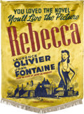 "Movie Posters:Hitchcock, Rebecca (United Artists, 1940). Silk Banner (38"" X 52"").. ..."