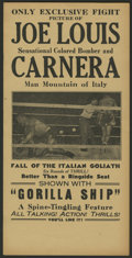"Movie Posters:Sports, Joe Louis vs. Primo Carnera Fight Lot (Unknown, 1935). Heralds (2) (6"" X 11.75""). Sports.. ... (Total: 2 Items)"