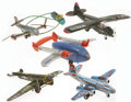 Antiques:Toys, Lot of Five Tin Litho Airplanes.... (Total: 5 Items)