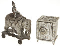 Antiques:Toys, Two Cast Iron Toys: Shimmer Clown on Elephant with Stationary Wheels and a Star Safe.... (Total: 2 Items)