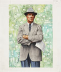 """Football Collectibles:Others, Tom Landry Original Artwork for """"Goal Line Art.""""..."""