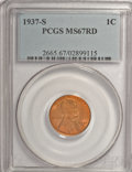 Lincoln Cents: , 1937-S 1C MS67 Red PCGS. PCGS Population (117/0). NGC Census: (338/0). Mintage: 34,500,000. Numismedia Wsl. Price for NGC/P...