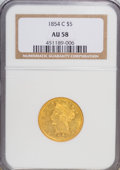 Liberty Half Eagles: , 1854-C $5 AU58 NGC. NGC Census: (18/14). PCGS Population (7/7).Mintage: 39,200. Numismedia Wsl. Price for NGC/PCGS coin in...
