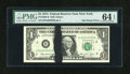 Error Notes:Ink Smears, Fr. 1908-B $1 1974 Federal Reserve Note. PMG Choice Uncirculated 64EPQ.. ...