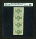 Fractional Currency:First Issue, Fr. 1242 10c First Issue. Vertical Strip of Four. PMG About Uncirculated 55....