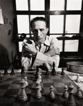 Photography :20th Century , ELIN ELISOFON (American, b. 1952). Retired to His Chessboard, Artist Marcel Duchamp Plays by the Hour at a Table with a Cl...