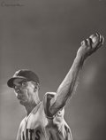 Photography :20th Century , GJON MILI (American, 1904-1984). New York Giants Pitcher Carl Hubbell Throwing a Curve Ball, NY, 1940. Vintage gelatin s...