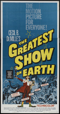 "The Greatest Show On Earth (Paramount, R-1960). Three Sheet (41"" X 81""). Drama"