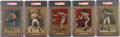 Boxing Cards:General, 1911 Turkey Red PSA-Graded Group of (5)....
