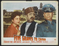 "Movie Posters:War, Five Graves to Cairo (Paramount, 1943). Lobby Card (11"" X 14"").War.. ..."