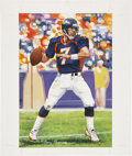"""Football Collectibles:Others, John Elway Artwork for """"Goal Line Art.""""..."""