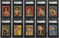 Boxing Cards:General, Extremely Rare 1910 T219 Red Cross Tobacco Boxers SGC-Graded Groupof (17)....