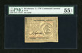 Colonial Notes:Continental Congress Issues, Continental Currency February 17, 1776 $3 PMG About Uncirculated 55EPQ....