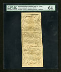 Colonial Notes:Massachusetts, Massachusetts October 16, 1778 Vertical Strip of Three 6d, 1s6d and 2s PMG Choice Uncirculated 64....