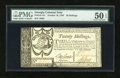 Colonial Notes:Georgia, Georgia October 16, 1786 20s PMG About Uncirculated 50 EPQ....