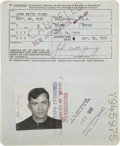 Explorers:Space Exploration, John Young's Official United States Passport, October 13, 1970 - October 12, 1975, Directly from his Personal Collection, Sign...