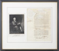 "Autographs:Statesmen, John Hancock Document Signed Twice as governor of Massachusetts. One page partly printed, 9"" x 12.5"" (sight), April 10, 1789..."