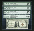 Small Size:World War II Emergency Notes, Fr. 2300 $1 1935A Hawaii Silver Certificates. Four Examples. PMG Gem Uncirculated 65 EPQ.. ... (Total: 4 notes)