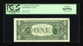 Error Notes:Third Printing on Reverse, Fr. 1910-L $1 1977A Federal Reserve Note. PCGS Gem New 66PPQ.. ...