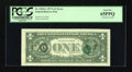 Error Notes:Third Printing on Reverse, Fr. 1910-L $1 1977A Federal Reserve Note. PCGS Gem New 65PPQ.. ...