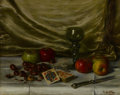 Fine Art - Painting, European, ANTOINE VOLLON (French, 1833-1900). Still Life with Fruit, Nuts,and Deck of Cards. Oil on canvas. 19 x 24 inches (48.3 ...