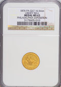 Expositions and Fairs, 1899 Medal PA Gilt 16.5 mm Liberty Bell Philadelphia Exposition Medal MS63 NGC....