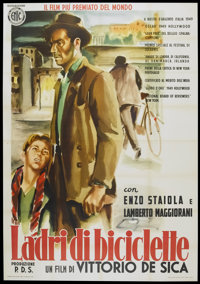 "The Bicycle Thief (Ente Nazionale Industrie Cinematografiche (ENIC), R-1955). Italian 4 - Folio (55"" X 78""). F..."