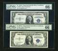 """Small Size:Silver Certificates, Fr. 1609 $1 1935A """"R"""" Silver Certificates. Two Examples. PMG Gem Uncirculated 66 EPQ.. ... (Total: 2 notes)"""