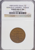 20th Century Tokens and Medals, 1909-Dated Token 25 mm, Copper, Kohler and Campbell, Pianos, NewYork Token MS61 Brown NGC....