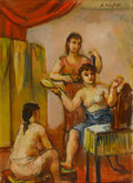 Fine Art - Painting, American:Modern  (1900 1949)  , BERNARD KARFIOL (American, 1886-1952). Dressing Room. Oil oncanvas board. 16 x 12 inches (40.6 x 30.5 cm). Signed upper...