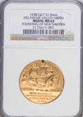 Expositions and Fairs, 1938 Medal Gilt 31.5 mm Delaware Valley 300th Founding Of NewSweden Medal MS63 NGC....