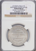 20th Century Tokens and Medals, (C1920'S) Token PHILA PA Moelbert Oyster House 32 mm, Aluminum Token MS62 NGC....