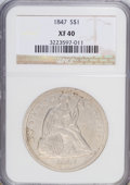 Seated Dollars: , 1847 $1 XF40 NGC. NGC Census: (17/284). PCGS Population (31/329).Mintage: 140,750. Numismedia Wsl. Price for NGC/PCGS coin...